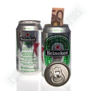lata de cerveza para ocultar dinero